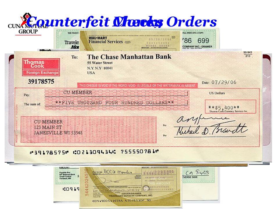 Counterfeit Money Orders Counterfeit Checks