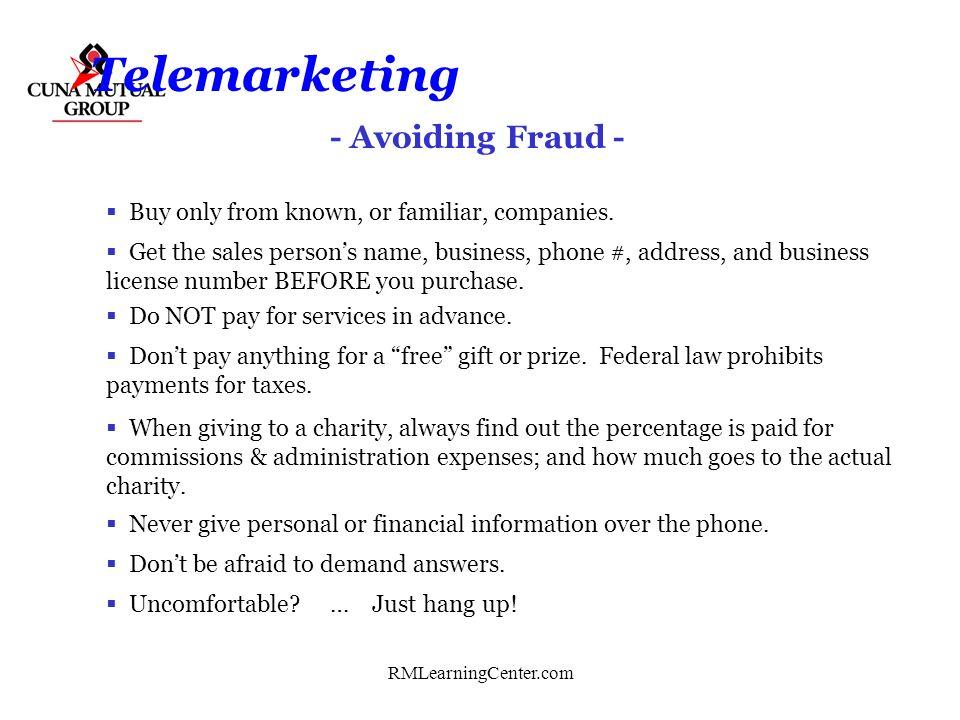 Telemarketing - Avoiding Fraud -