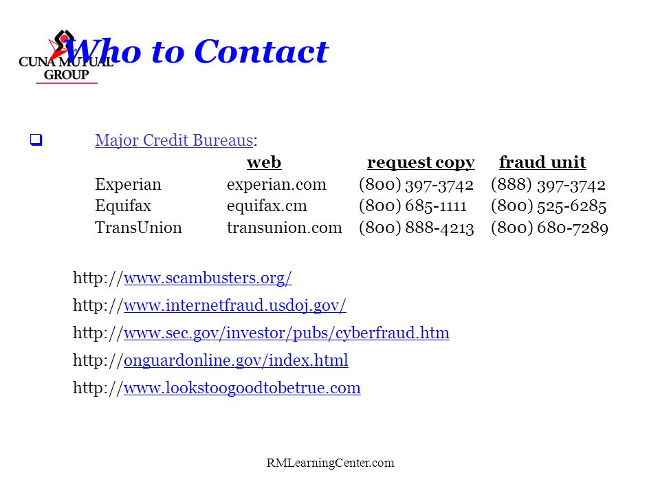 Who to Contact Major Credit Bureaus: web request copy fraud unit