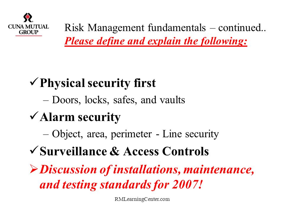 Physical security first Alarm security Surveillance & Access Controls