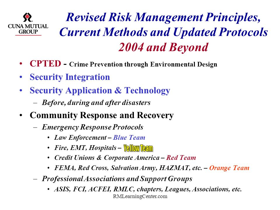 Revised Risk Management Principles, Current Methods and Updated Protocols 2004 and Beyond