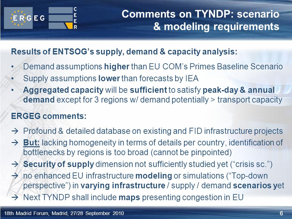 Comments on TYNDP: scenario & modeling requirements
