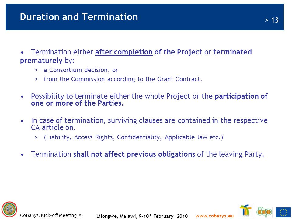 Duration and Termination