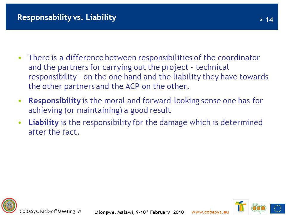 Responsability vs. Liability