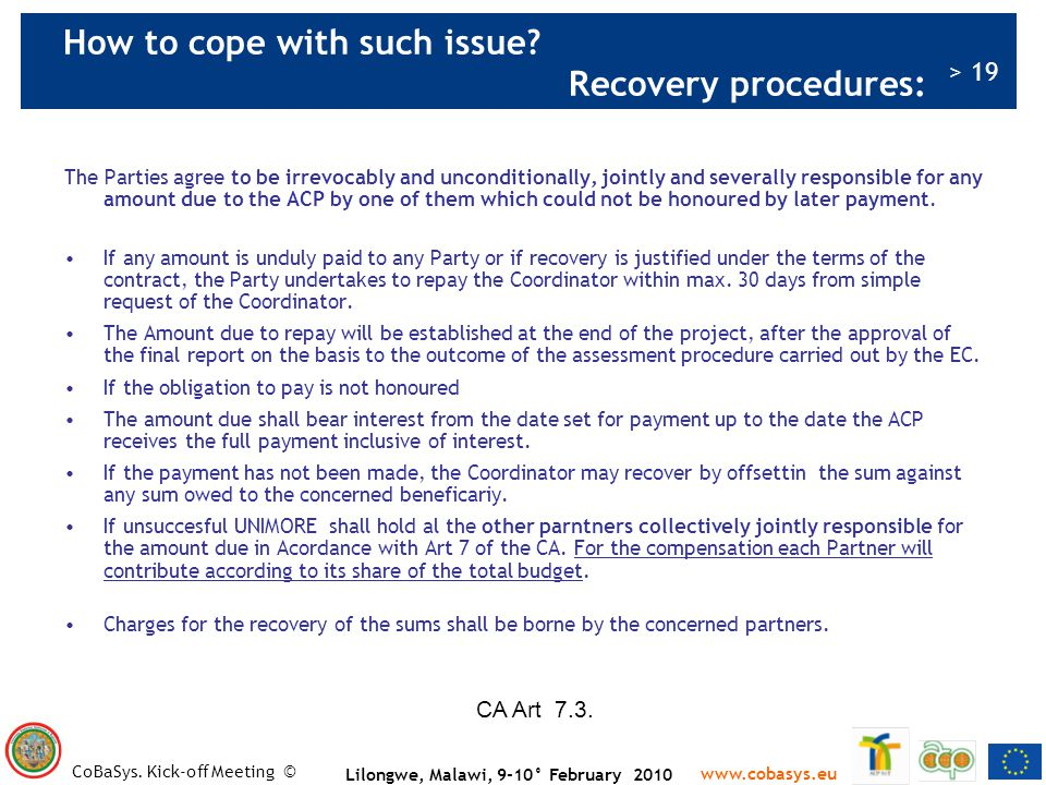 How to cope with such issue Recovery procedures: