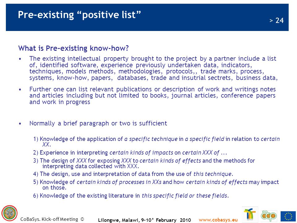Pre-existing positive list