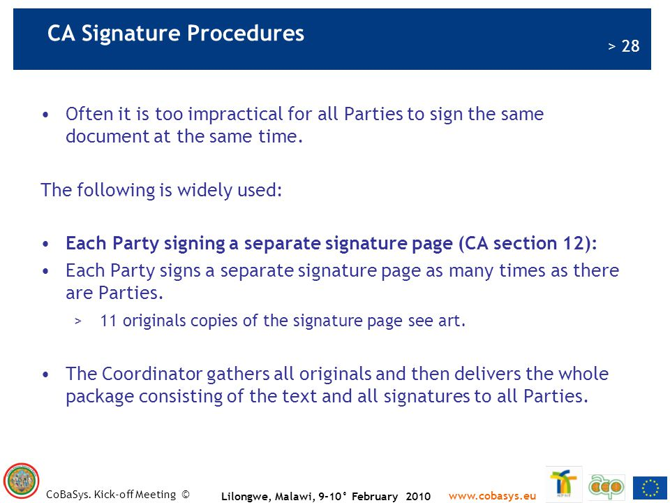 CA Signature Procedures