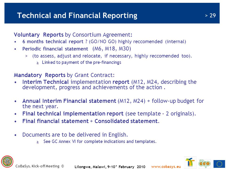 Technical and Financial Reporting