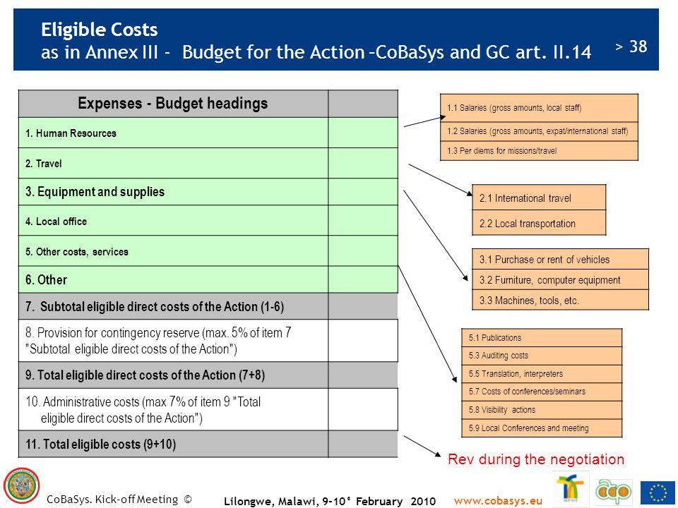 Expenses - Budget headings Lilongwe, Malawi, 9-10° February 2010