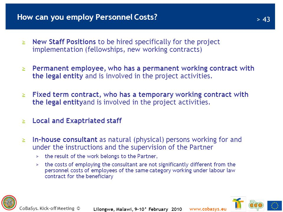 How can you employ Personnel Costs