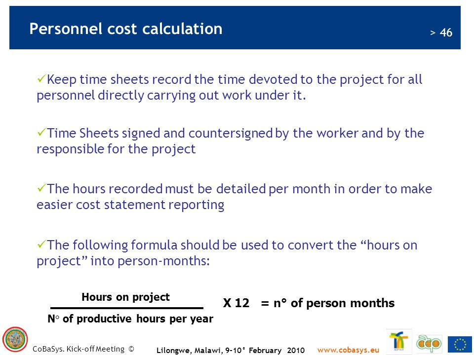 Personnel cost calculation