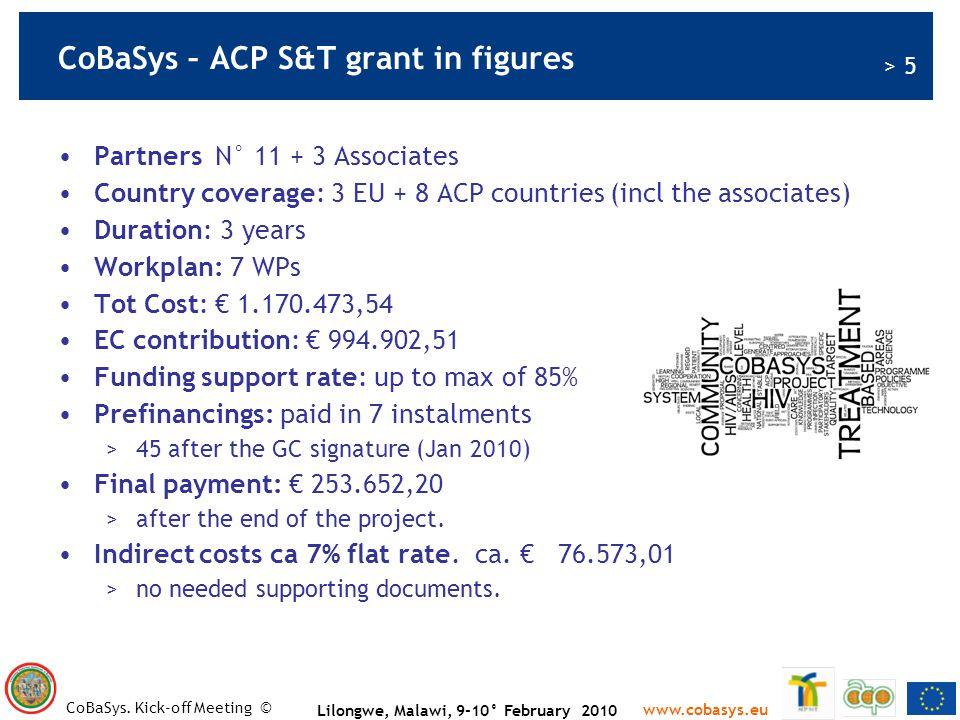 CoBaSys – ACP S&T grant in figures