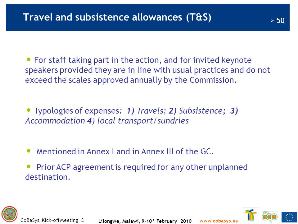 Travel and subsistence allowances (T&S)