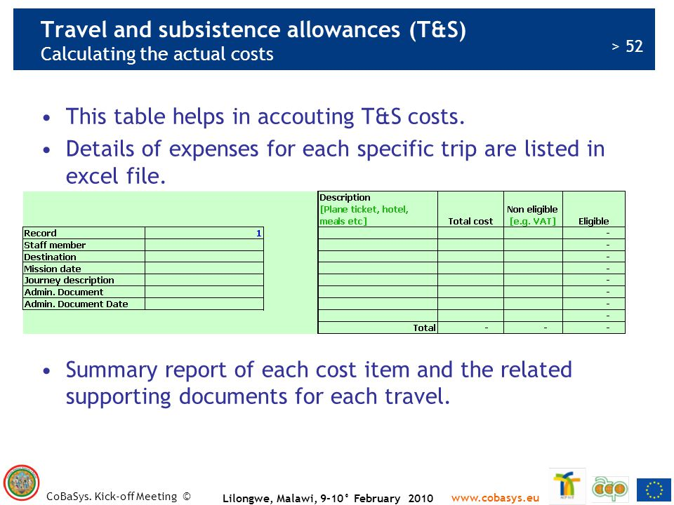 Travel and subsistence allowances (T&S) Calculating the actual costs