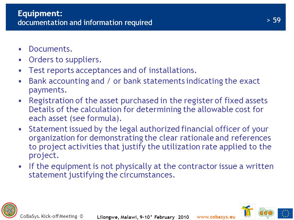 Equipment: documentation and information required