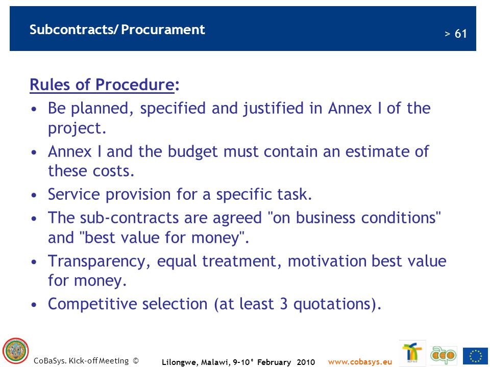 Subcontracts/ Procurament