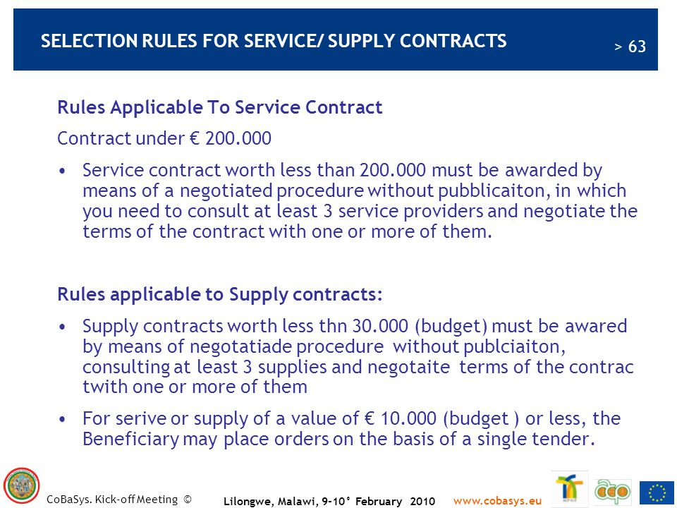 SELECTION RULES FOR SERVICE/ SUPPLY CONTRACTS