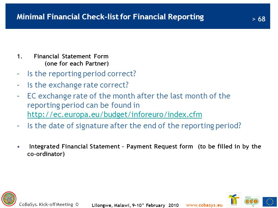 Minimal Financial Check-list for Financial Reporting