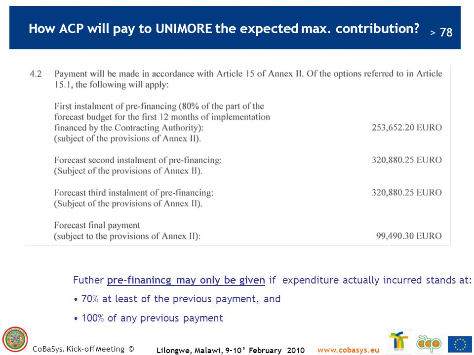 How ACP will pay to UNIMORE the expected max. contribution