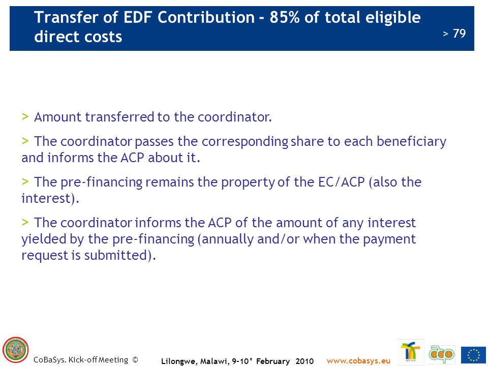 Transfer of EDF Contribution - 85% of total eligible direct costs