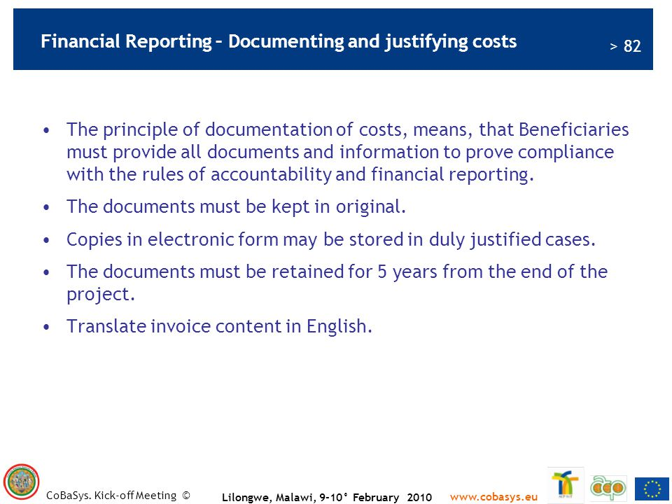 Financial Reporting – Documenting and justifying costs