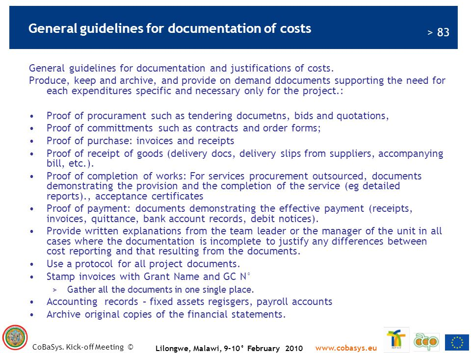 General guidelines for documentation of costs