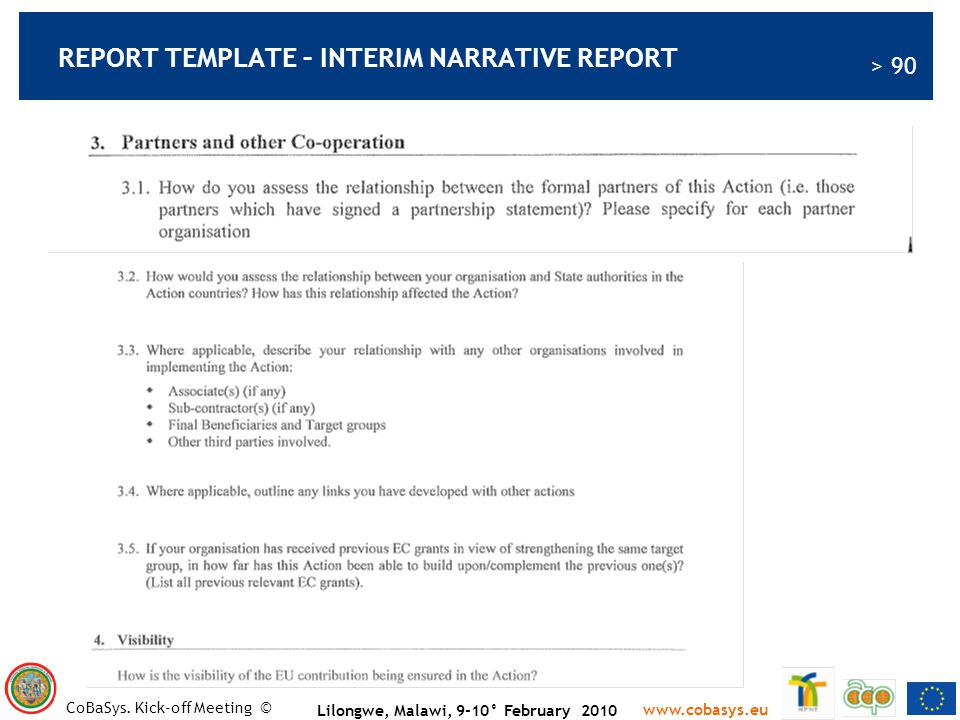 REPORT TEMPLATE – INTERIM NARRATIVE REPORT