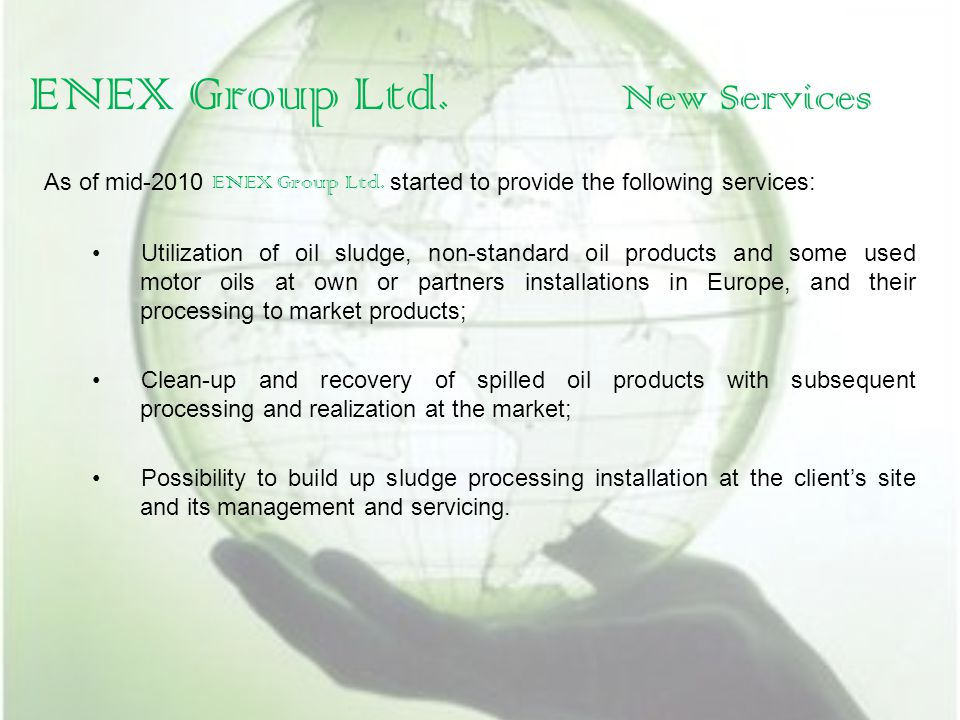 ENEX Group Ltd. New Services