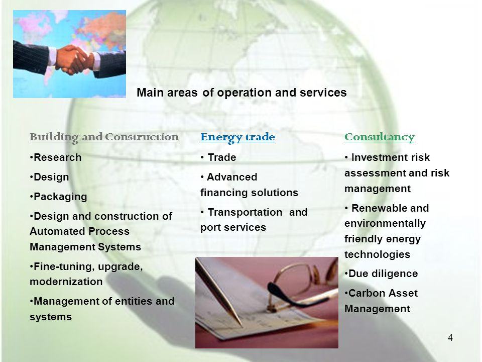 Main areas of operation and services