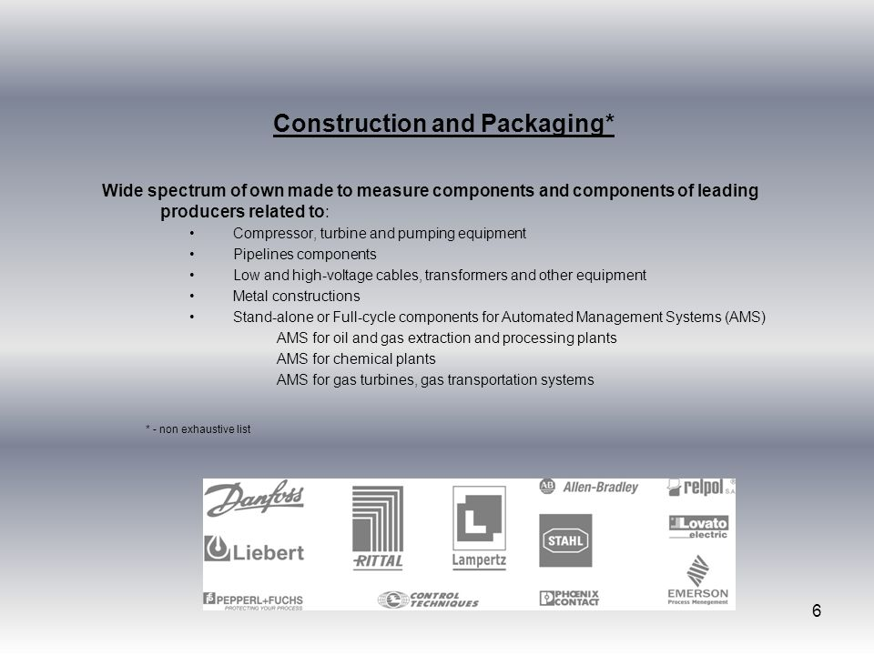 Construction and Packaging*