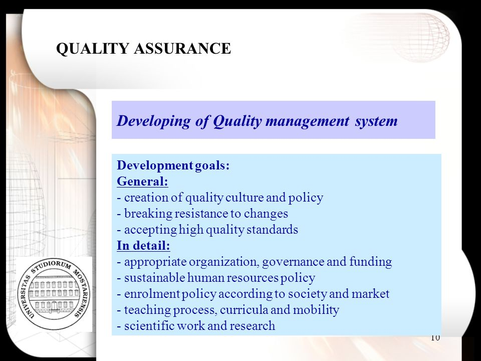 Developing of Quality management system