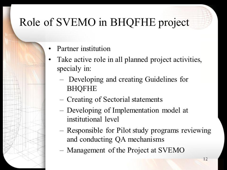 Role of SVEMO in BHQFHE project