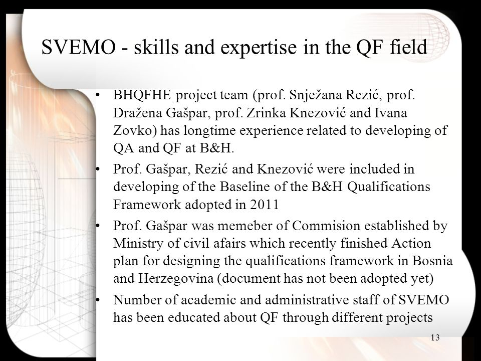 SVEMO - skills and expertise in the QF field