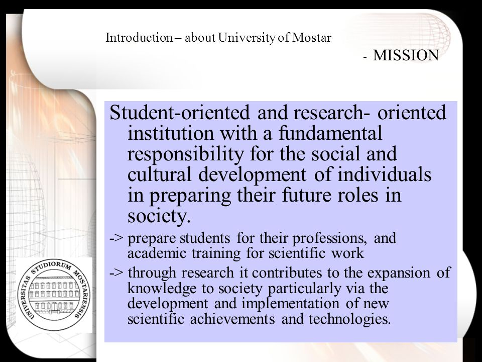 Introduction – about University of Mostar - MISSION