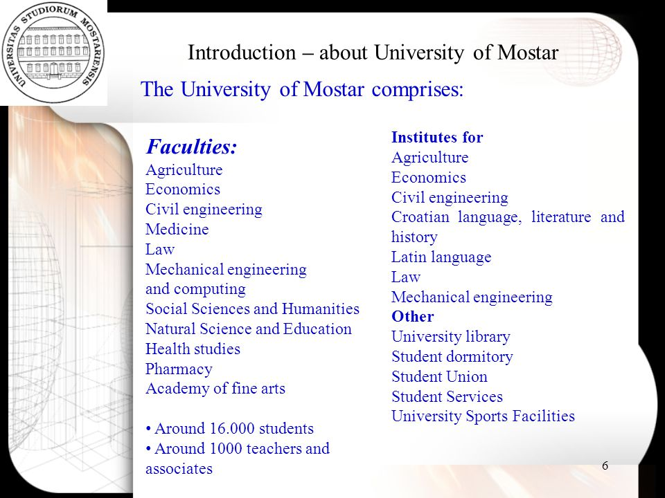 Introduction – about University of Mostar