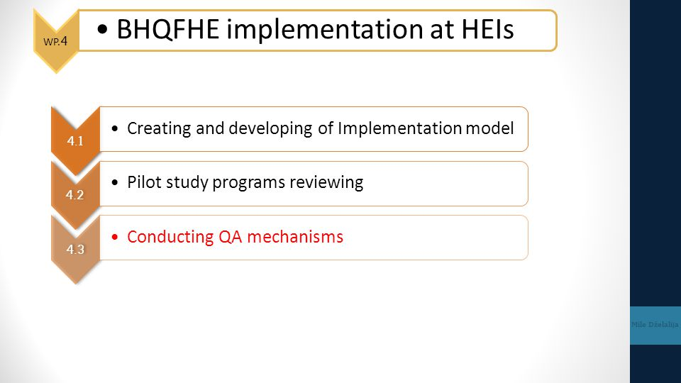 BHQFHE implementation at HEIs