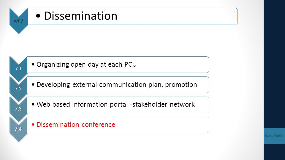 Dissemination Organizing open day at each PCU