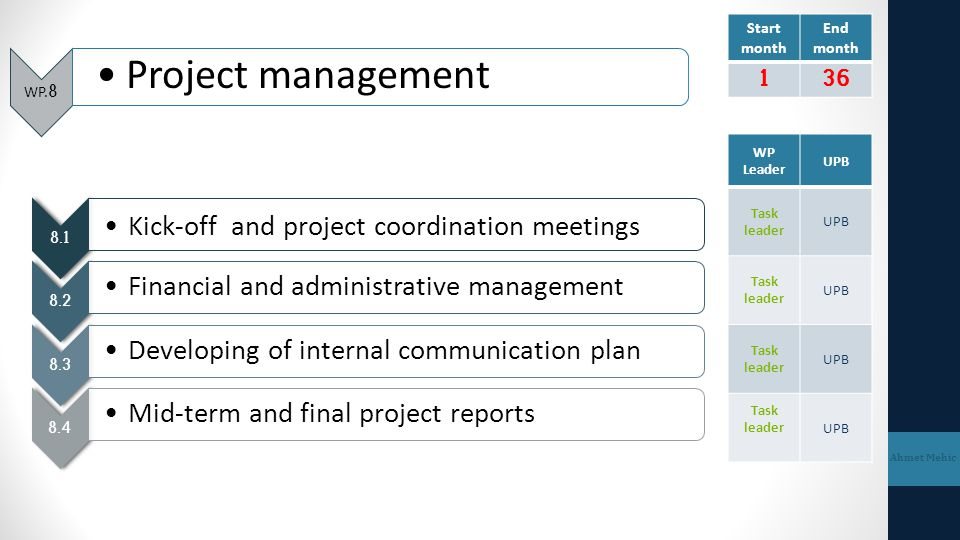 Project management Kick-off and project coordination meetings