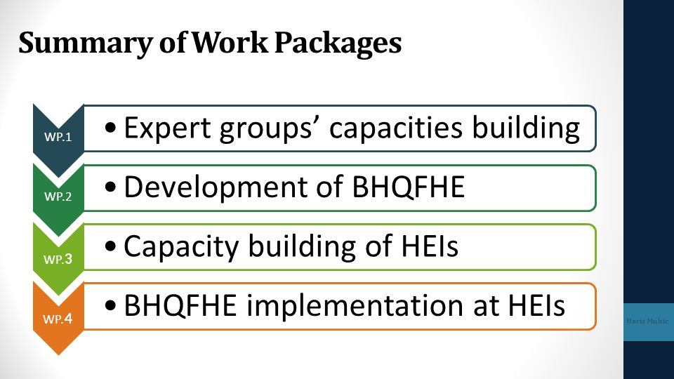 Summary of Work Packages