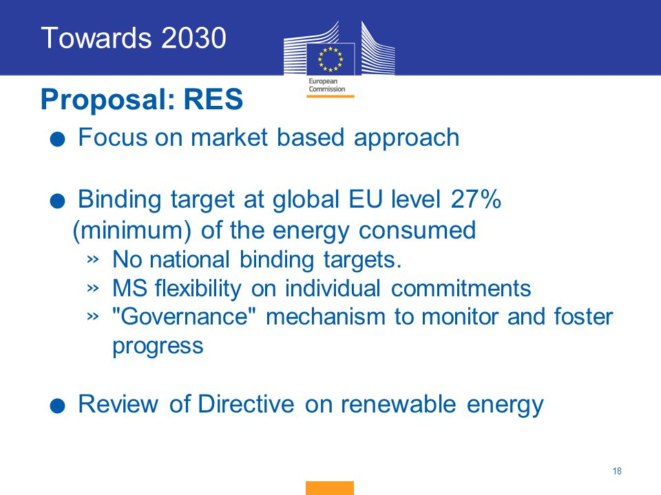 Towards 2030 Proposal: RES Focus on market based approach