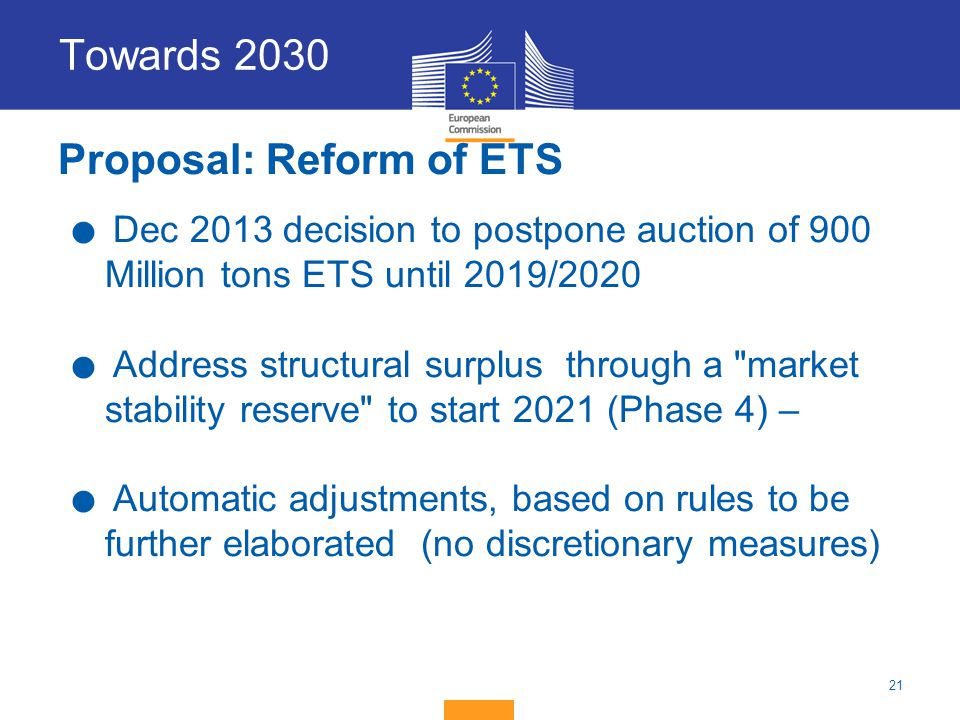 Proposal: Reform of ETS