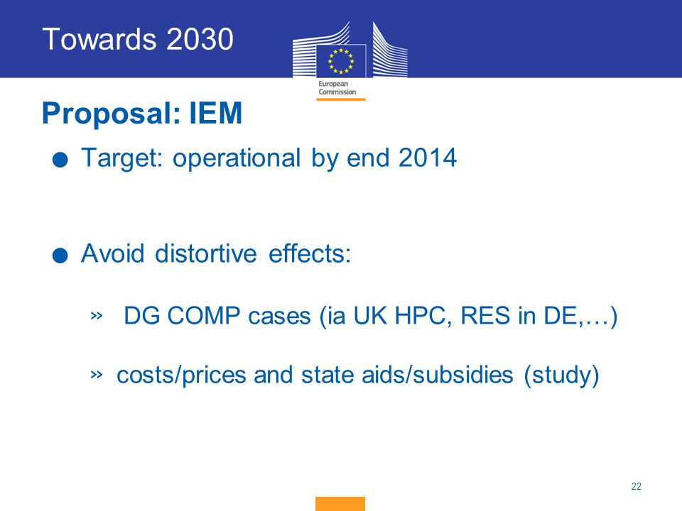 Towards 2030 Proposal: IEM Target: operational by end 2014
