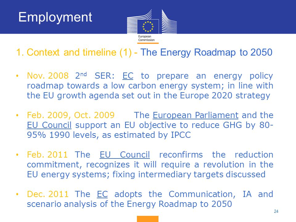 1. Context and timeline (1) - The Energy Roadmap to 2050