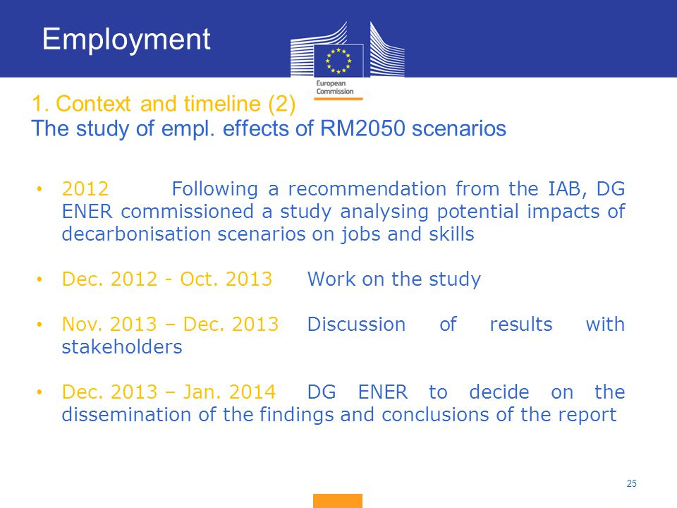Employment 1. Context and timeline (2) The study of empl. effects of RM2050 scenarios.