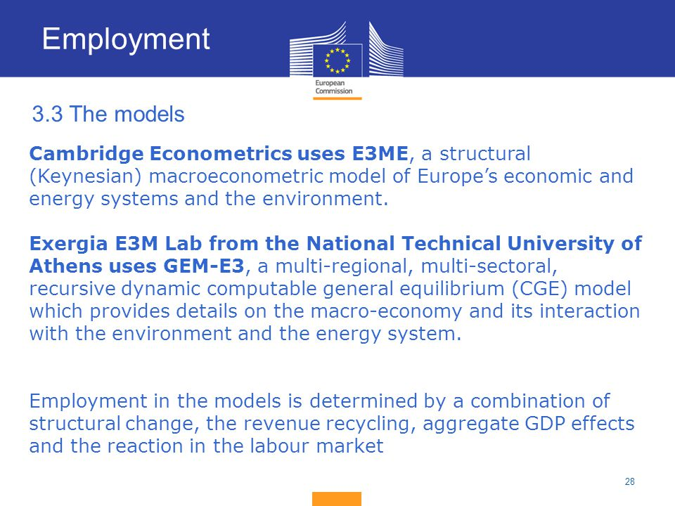 Employment 3.3 The models.