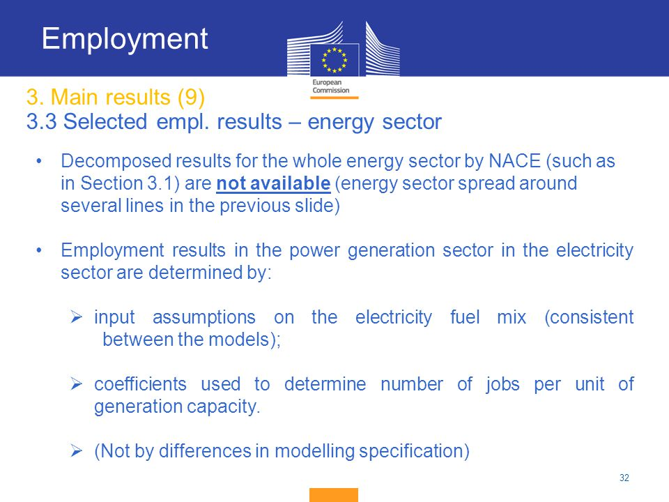 3. Main results (9) 3.3 Selected empl. results – energy sector
