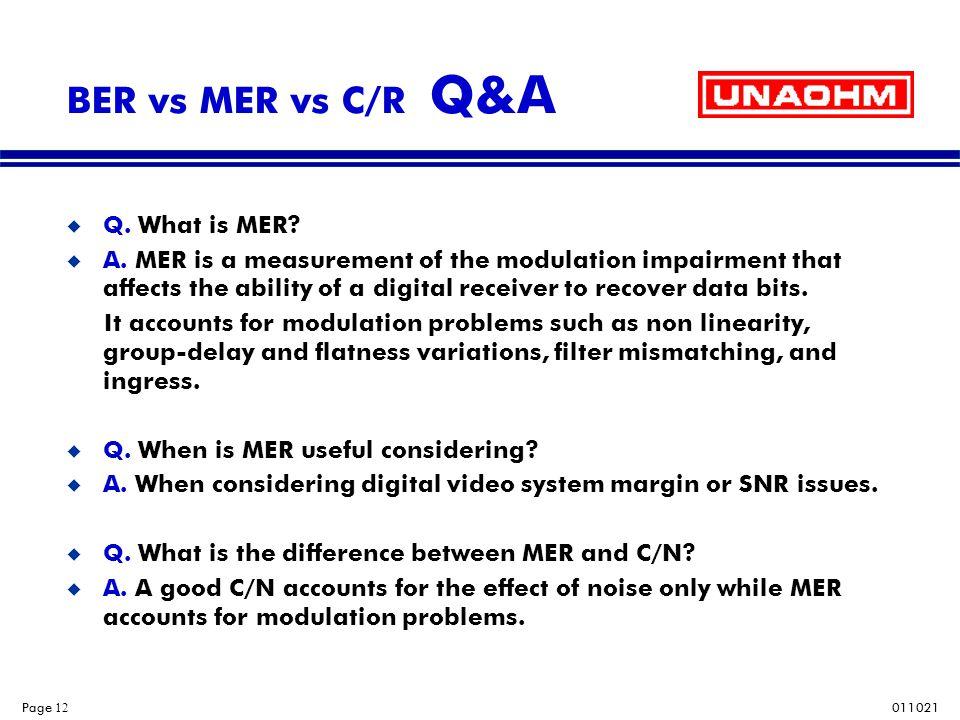 BER vs MER vs C/R Q&A Q. What is MER