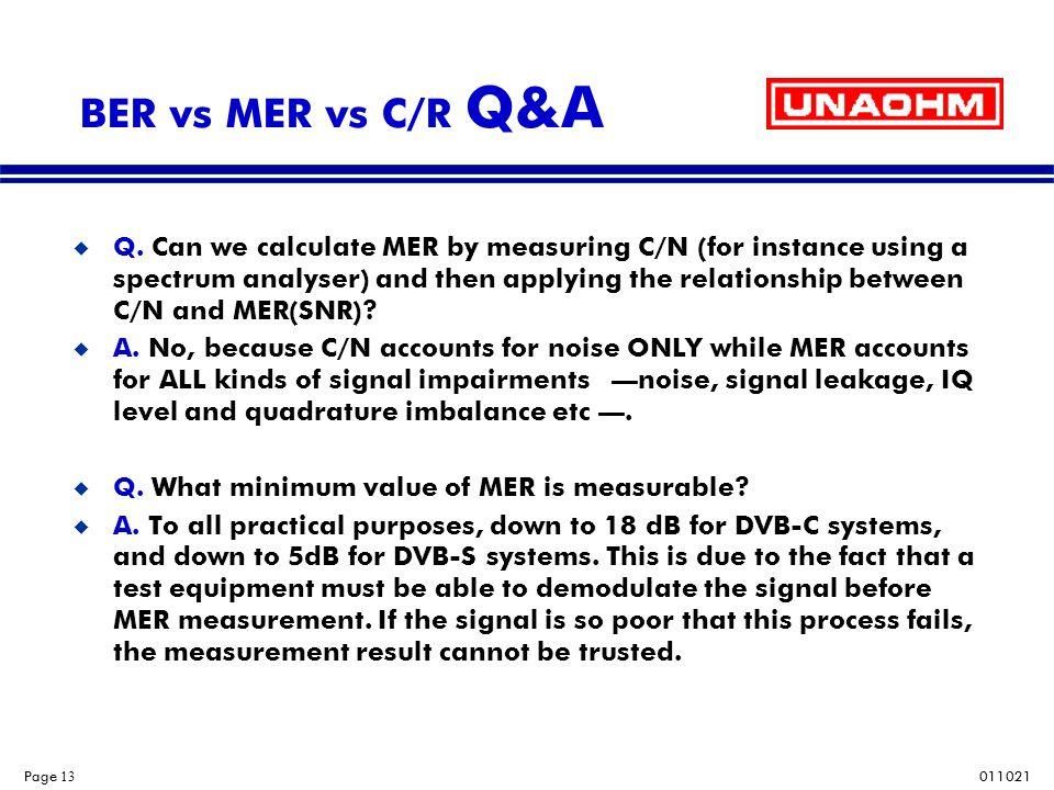 BER vs MER vs C/R Q&A