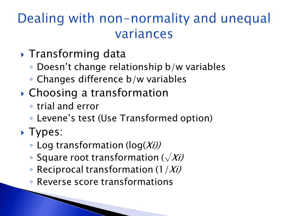 Dealing with non-normality and unequal variances