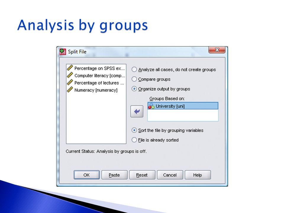 Analysis by groups